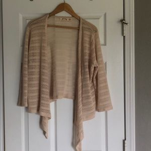 Long sleeve cream open drape cardigan